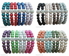 Glass Pearl & Shamballa Crystal Bead Elastic Stretch Ladies Bracelet UK
