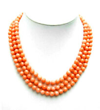 """SALE 6-7mm High quality Natural Pink round coral 17"""" 3 Strands necklace-nec5547"""