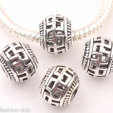Lot 10/20Pcs Tibetan Silver Buddha Simple Big Hole Loose Spacer Beads Craft 10mm