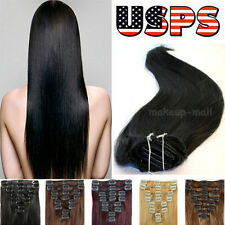 """US Top 100% Real Clip in Remy Human Hair Extensions Full Head 15""""16""""18""""20""""22"""""""