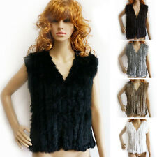 100% Real Rabbit Fur Vest Womens Gilet Knitted Rabbit Fur Waistcoat Sleeveless