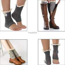 2015 Womens Crochet Knitted Lace Trim Boot Cuffs Toppers Leg Warmers Socks GT56