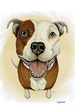 Pit Bull Terrier Print Dog Portrait Dog Breeds Art Ready To Frame Weeze Mace