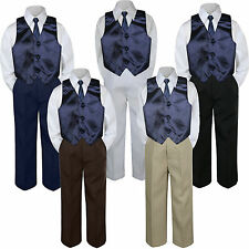 4pc Boy Suit Set Navy Blue Necktie Vest Baby Toddler Kid Formal Pants S-7