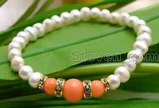 "SALE 6-7mm white Natural Pearl and pink Round natural Coral 7.5"" bracelet-br291"