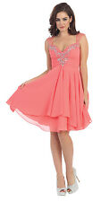 Prom Short Sweetheart Cap Sleeve Sequins Chiffon Cocktail Dress with Cut of Back