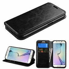 For Samsung Galaxy S6 PU Leather Flip Cover Credit Card Wallet Phone Case Black