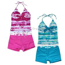 Kids Girl Two Piece Halter Tankini Swimwear Bathing Swim Suit Size 8 10 12 14 16
