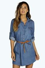 Boohoo Womens Ellie Denim Belted Button Front Shirt Dress