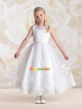 Flower Girl Princess Dress Toddler Baby Wedding Party SatinLace Holiday-G