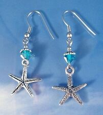 Silver Starfish Beach Women's Fashion Charm Earrings Dangle Steel Sterling Hooks