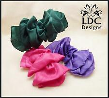 Assorted Colors Classy Satin Fabric Ruffle Hair Bow French Clip Barrette
