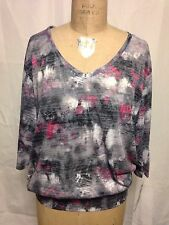Ideology Electric Tie Dye Dolman-Sleeve Banded Workout Top M Black/Pink   NWT