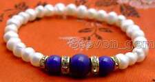 """SALE Beautiful! Natural 6-7mm white Pearl and blue Round jade 7.5"""" bracelet-b289"""