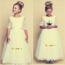 Nes Wedding dress Party dress Formal Flower Girls Dress baby Pageant white-G