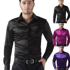Mens Silk-Like Satin Shirts/S-XL/Short or Long Sleeve /Dress Casual Business