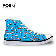 Fashion Emoji Womens Girls Lace-up High Top Shoes Sneakers Casual Canvas Shoes