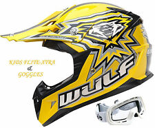 WULFSPORT FLITE -XTRA KID MOTOCROSS OFF ROAD YELLOW HELMET+X1 KIDS WHITE GOGGLES