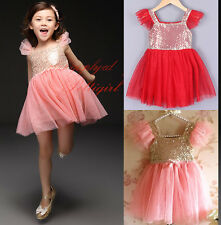 Girls Ruffled Sleeves Sequin Shining Tulle Party Dress Toddler Christmas Dresses