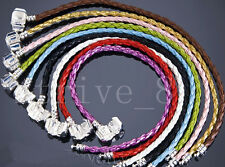 Hot 10/20pcs Mixed Braid Leather Charm Bracelets Fit European Beads Sizes Choose