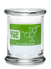 """Pop-Top Stash Jar 420 Science with """"THC"""" Write & Erase Decal - Assorted Sizes"""