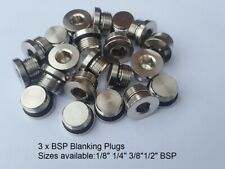 3 X BSP BRASS PLUGS SIZES AVAILABLE: 1/8 1/4 3/8 1/2 BSP