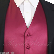 BURGUNDY XS to 6XL Solid Tuxedo Suit Dress Vest Waistcoat Wedding Party Prom
