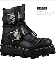 100% Leather-2017 PUNK COOL-Men Rock Retro Fashion original motorcycle ARMY boot