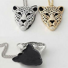 Vogue Women's Alloy Crystal Rhinestone Plated Leopard Necklace Xmas Pendant Gift