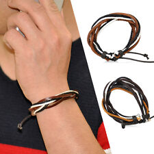Men Women Hemp Multi Rope Wrap Leather Bracelet Bangle Wristband Cuff Vintage