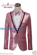 Men's Casual Slim Fit One Button Suit Blazer Coat Jacket Tops(Jacket+Tie)