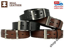 """Mens Belts Genuine Leather Real Brown Black Trousers Jeans High Quality 1.5"""""""