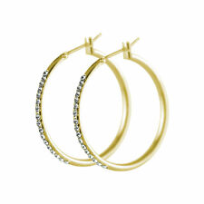 Round Gold Plated Crystal Hoop Earrings  made with SWAROVSKI® Crystal