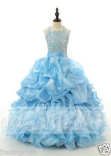 Halter Full-Length Ball Gown Organza Pageant Tiered Flower Girl Dress Sequins 1
