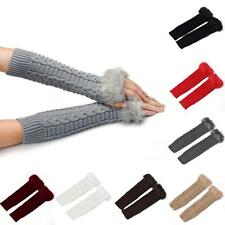 Womens Warm Glove Winter Long Paragraph Fashion Knitting Half Fingerless Gloves