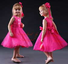 Infant Kid Sequins Flower Party Girl Dress Princess Wedding Formal Fancy Dresses