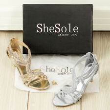 New 2016 Womens diamonds strappy mid heels wedding sandals dress evening shoes