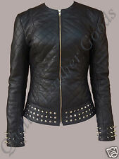WOMAN FEMALE LADIES STUDDED SPIKED QUILTED PREMIUM SHEEP LEATHER ROCK JACKET