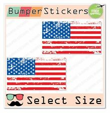 (2x) Grunge American Flag USA United States Car Bumper Sticker Decal SELECT SIZE