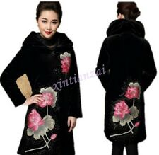 Retro Mom Womens Pleuche Lotus Embroidered Stand Collar Long Jacket Coat m-5xl