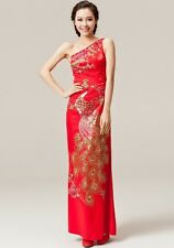 Red Ankle length women qipao Chinese traditional wedding dress Phoenix Cheongsam