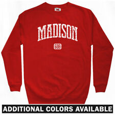 Madison 608 Wisconsin Sweatshirt Crewneck - WI Dane Badgers UW Eagles  Men S-3XL