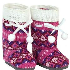 """Doll Clothes AG 18"""" Boots Knit Pink Hot Pink Made To Fit American Girl Dolls"""