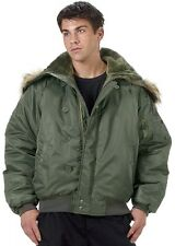 N-2B Green Flight Jacket Parka Heavy Insulated Military Style Flight Coat 7190 G