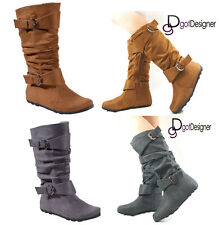 Women Fashion Boots Shoes Slouch Mid-Calf Suede Flat Round Toe Casual Riding NEW
