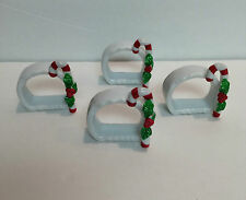 4 Porcelain Christmas Holiday Decor CANDY CANE NAPKIN RINGS Holders in Box