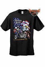 Men's Biker T-Shirt American Pride Motorcycle USA Flag Bald Eagle  Chopper Tee