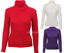 Womens Ladies Long Sleeve Knitted Polo Roll High Neck Stretchy Jumpers Tops 8-14