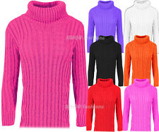 Womens Ladies Baggy Cowl Polo Neck Chunky Cable Knit Jumper Pullover Sweater Top