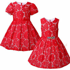 Red Flower Bodice Girls Dress Party Pageant Christmas Formal Wedding Birthday